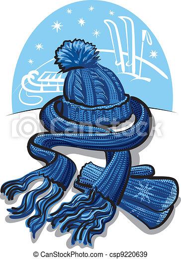 écharpe, laine, habillement, hiver, moufle - csp9220639