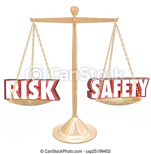 échelle, risque, danger, comparer, vs, sécurité, mots, équilibre, options - csp25199452