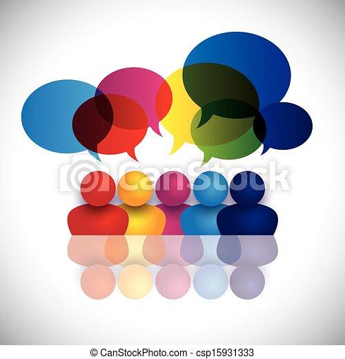 école, concept, bureau, gosses, conversation, vecteur, réunion, ou, personnel - csp15931333