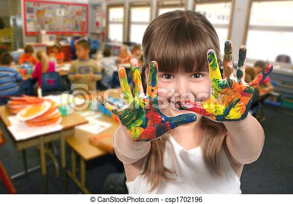 école, elle, âge, mains, tableau enfant, classe - csp1702196