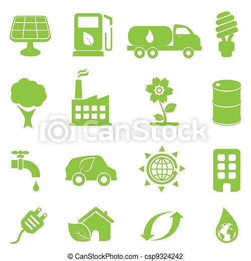 écologie, ensemble, icône - csp9324242