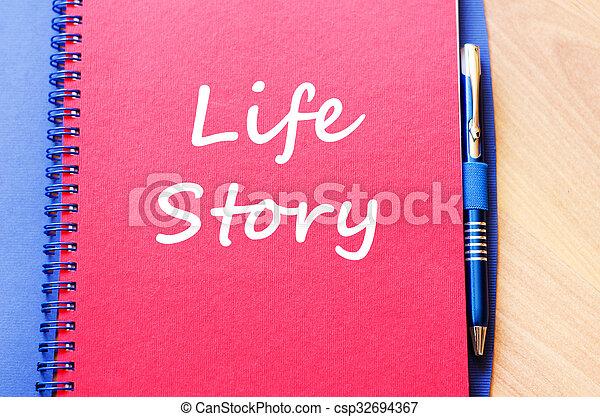 écrire, vie, cahier, histoire - csp32694367