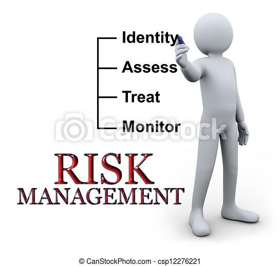 écriture, 3d, homme, gestion, risque - csp12276221