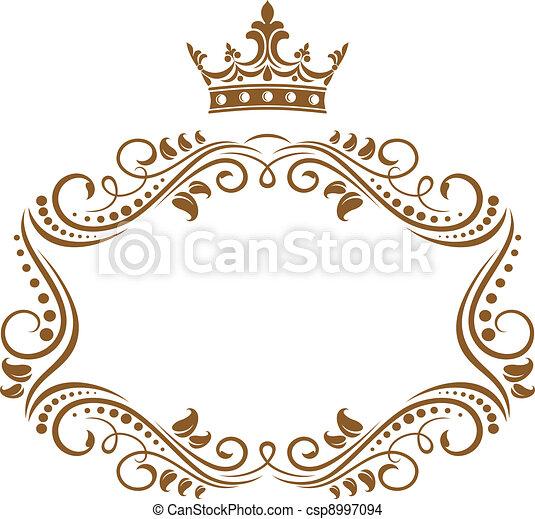 élégant, cadre, couronne royale - csp8997094