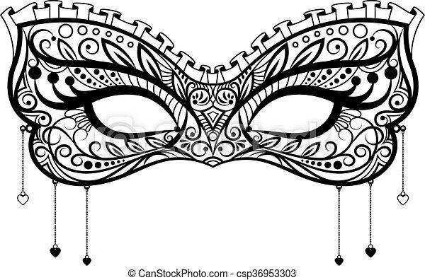 élégant, dentelle, noir, masque carnaval - csp36953303