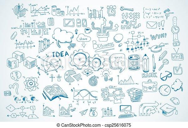 éléments, business, ensemble, vecteur, infographics, croquis, doodles, shapes., :, isolé - csp25616075