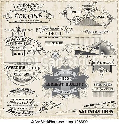 éléments, décoration, cadre, collection, calligraphic, vecteur, conception, vendange, page, set: - csp11982800
