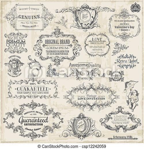 éléments, décoration, cadre, collection, calligraphic, vecteur, conception, vendange, page, set: - csp12242059