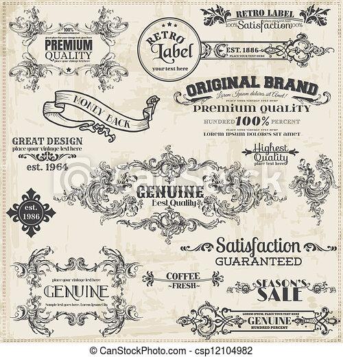 éléments, décoration, cadre, collection, calligraphic, vecteur, conception, vendange, page, set: - csp12104982
