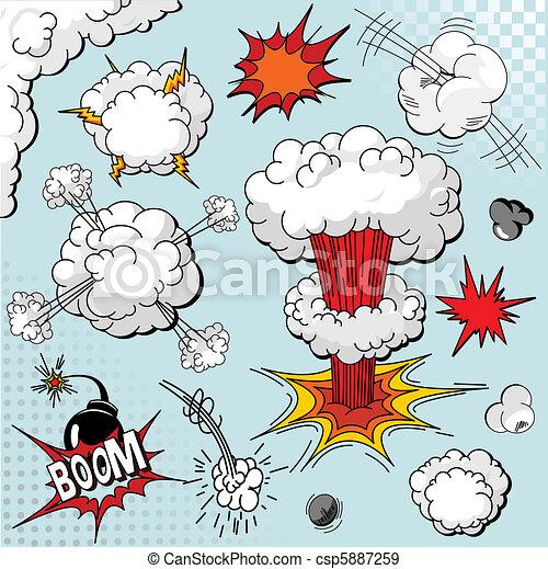 éléments, livre, explosion, comique - csp5887259