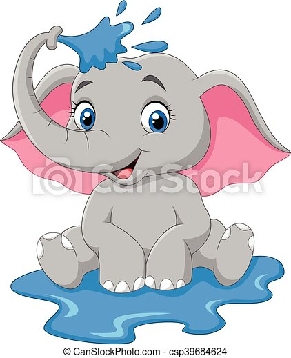 éléphant, dessin animé, pulvérisation, bébé - csp39684624
