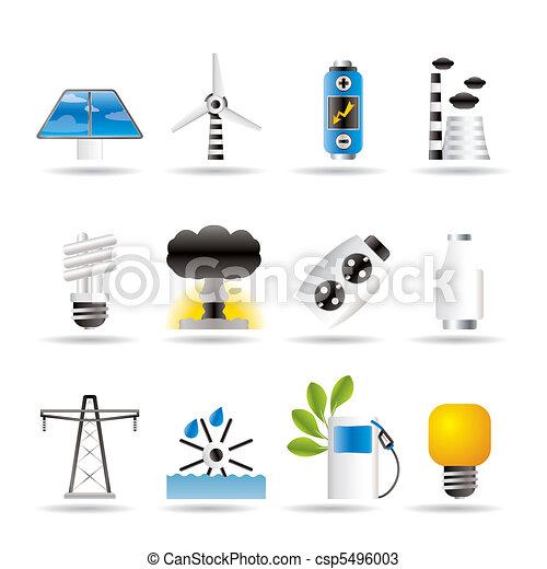 électricité, énergie, puissance, icônes - csp5496003