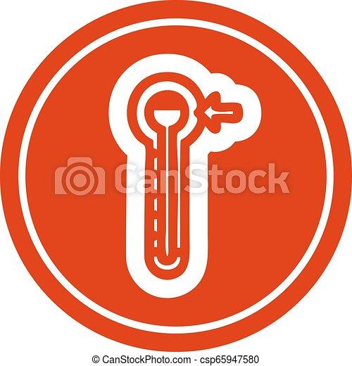 élevé, circulaire, température, icône - csp65947580