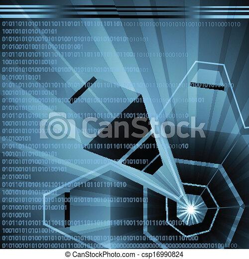 élevé, résumé, vecteur, technologie, futuriste - csp16990824