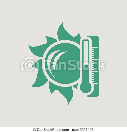 élevé, soleil, icône, température, thermomètre - csp40226403