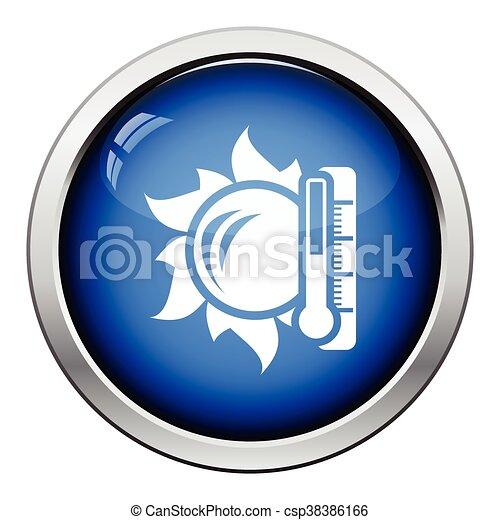 élevé, soleil, icône, température, thermomètre - csp38386166