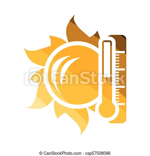 élevé, soleil, icône, température, thermomètre - csp57508096