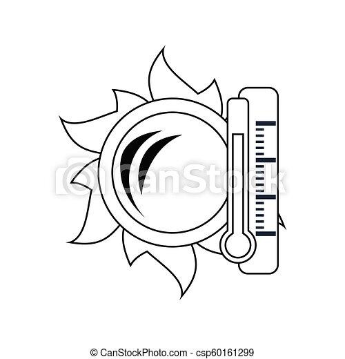 élevé, soleil, icône, température, thermomètre - csp60161299