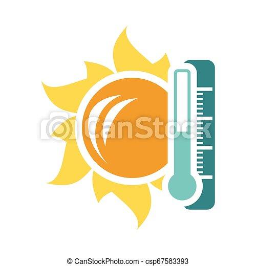 élevé, soleil, icône, température, thermomètre - csp67583393