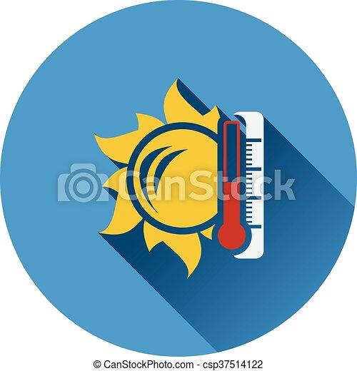 élevé, soleil, icône, température, thermomètre - csp37514122
