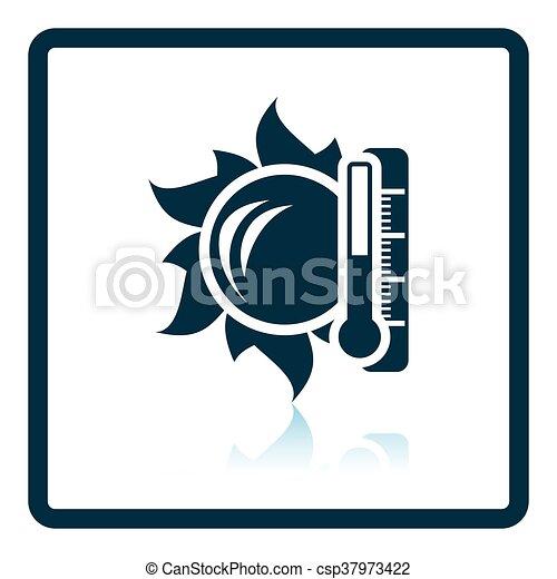 élevé, soleil, icône, température, thermomètre - csp37973422