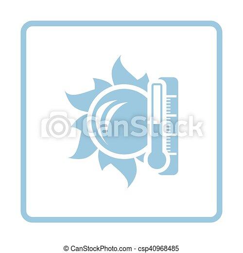 élevé, soleil, icône, température, thermomètre - csp40968485