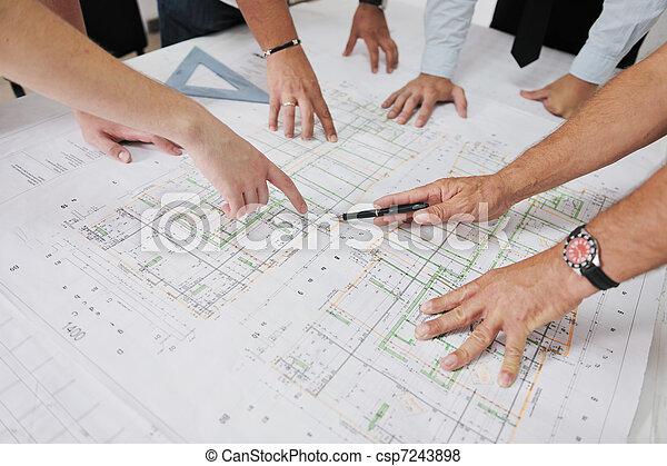 équipe, architectes, site, construction - csp7243898