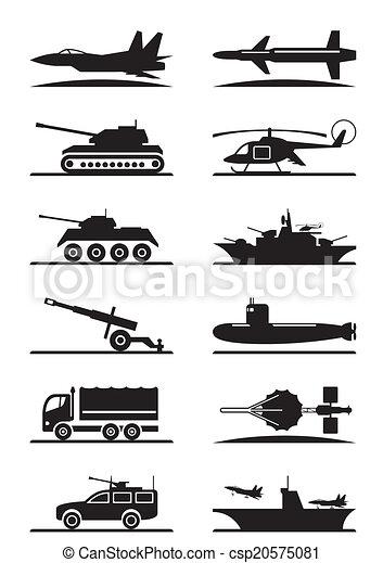 équipement, militaire, ensemble, icône - csp20575081