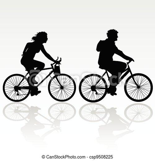 équitation, femme, vélo, homme - csp9508225