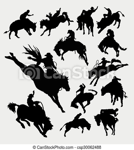 équitation, rodéo, silhouet, cow-boy, animal - csp30062488