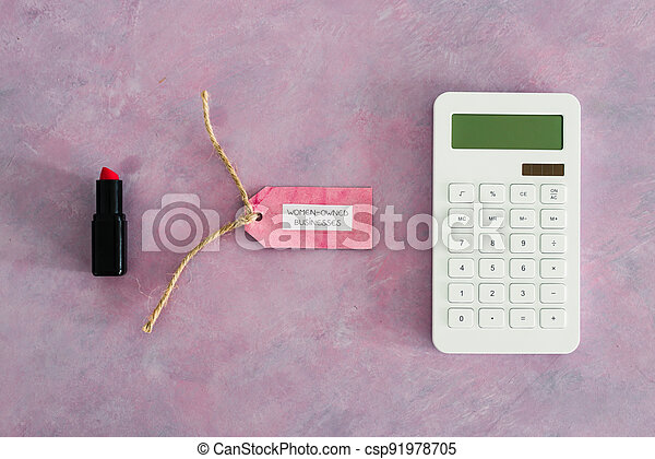 étiquette, women-owned, business, calculatrice, égalité, bureau, rose, rouge lèvres, soutenir - csp91978705