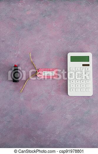 étiquette, women-owned, business, calculatrice, égalité, bureau, rose, rouge lèvres, soutenir - csp91978801
