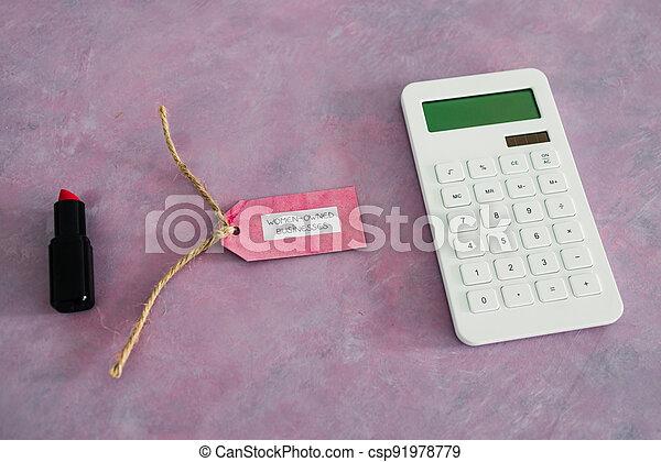 étiquette, women-owned, business, calculatrice, égalité, bureau, rose, rouge lèvres, soutenir - csp91978779