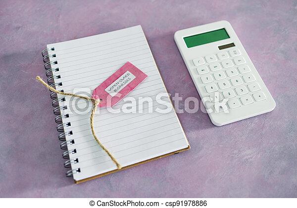 étiquette, women-owned, business, calculatrice, égalité, bureau, rose, soutenir, bloc-notes - csp91978886