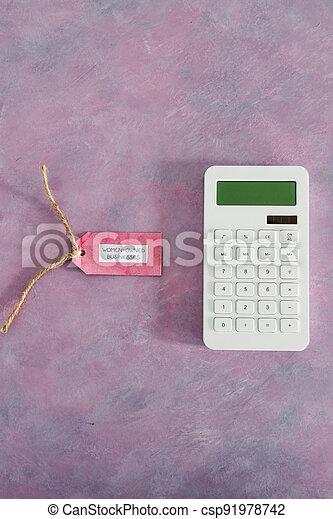 étiquette, women-owned, business, calculatrice, égalité, bureau, rose, soutenir - csp91978742
