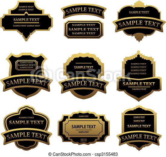 étiquettes, doré, ensemble, cadres - csp3155483