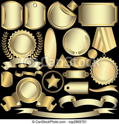 étiquettes, doré, (vector), ensemble, argenté - csp2869761
