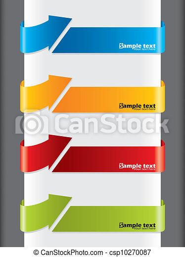 étiquettes, publicité, flèche, formé - csp10270087