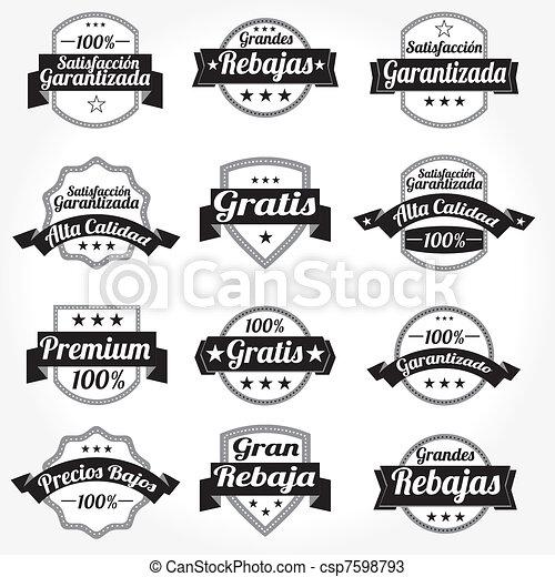 étiquettes, vecteur, ensemble, retro, espagnol - csp7598793