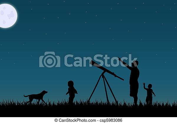 étoile, famille, sky., image, contre, nuit, fixer - csp5983086