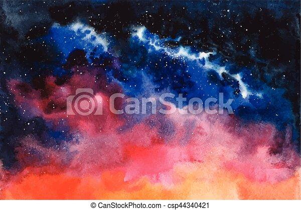 étoiles, nébuleuse, espace, aquarelle, constellation, vecteur, fond - csp44340421