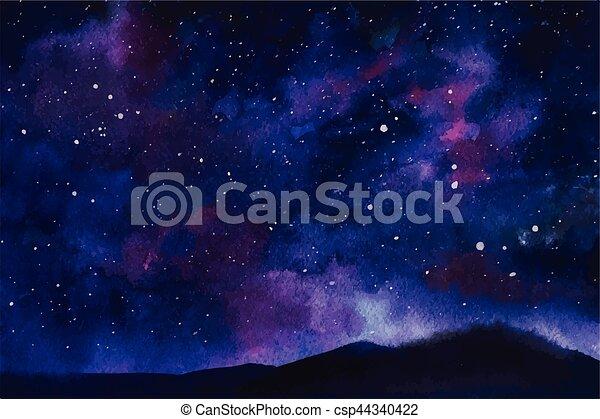 étoiles, nébuleuse, espace, aquarelle, constellation, vecteur, fond - csp44340422