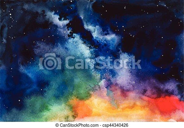 étoiles, nébuleuse, espace, aquarelle, constellation, vecteur, fond - csp44340426