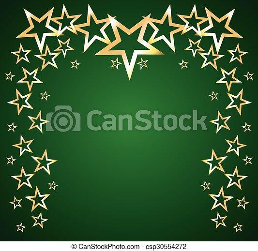 étoiles, vecteur, vert, or, fond - csp30554272