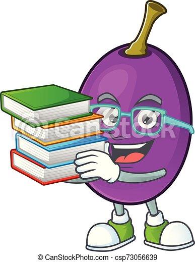 étudiant, caractère, winne, livre, fruit, délicieux, dessin animé - csp73056639