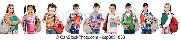 étudiants, beaucoup, enfants, retourner, école - csp3031850