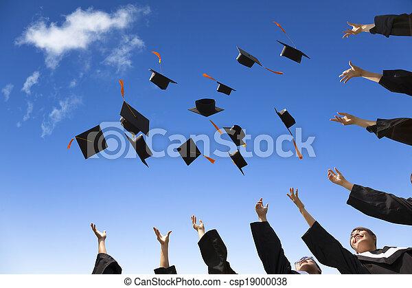 étudiants, chapeaux, remise de diplomes, air, célébrer, lancement - csp19000038