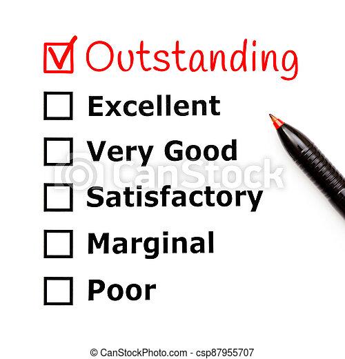 évaluation, formulaire, service, remarquable, client - csp87955707