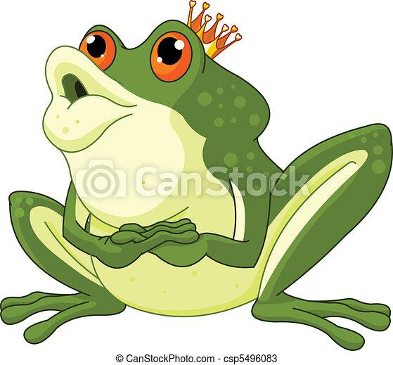 être, embrassé, grenouille, attente, prince - csp5496083