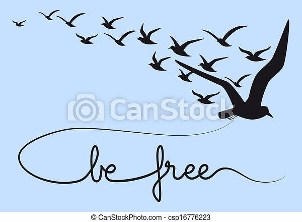 être, oiseaux, texte, voler, gratuite, vecteur - csp16776223